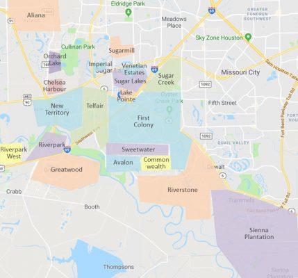sugar land neighborhoods map