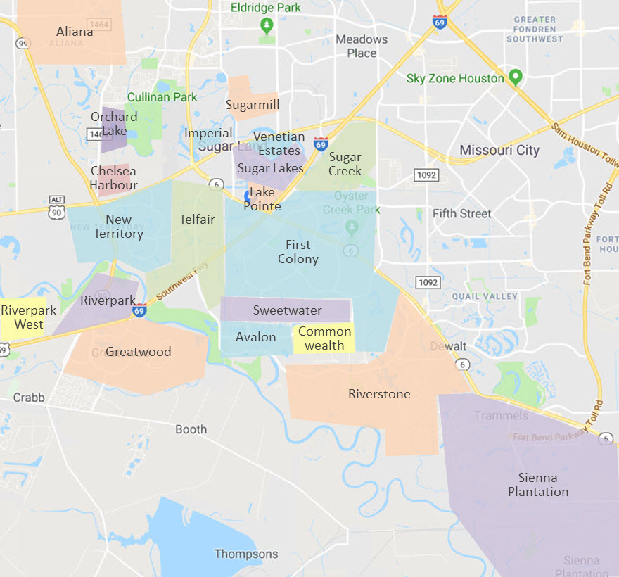 sugar land neighborhoods map